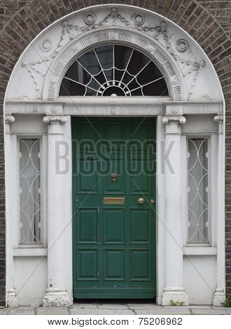 Colored Door In Dublin From Georgian Times (18Th Century)