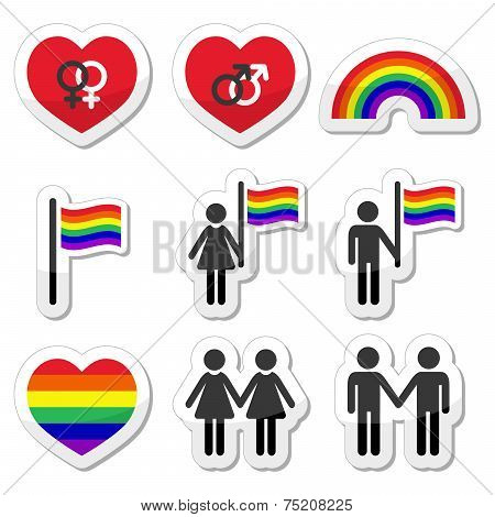 Gay and lesbian couples, rainbow vector icons set