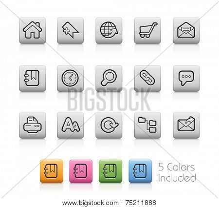 Web Site and Internet Icons // Outline Buttons +++ Each color in a layer - To see the desired color, you need to make it visible in the layer panel +++ EPS 10+ / Contain Transparencies.