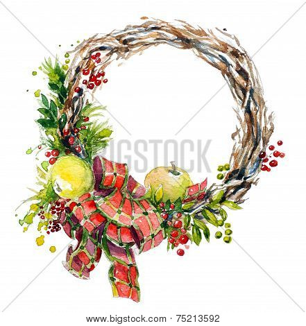 hand painted watercolor wreath. Christmas decoration.