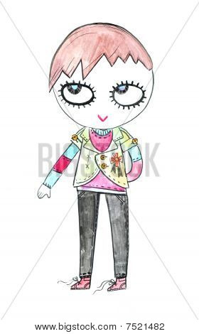 cartoony punk  rock  girl