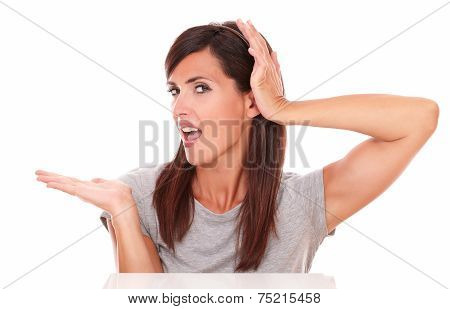 Latin Woman Holding Her Right Palm Up
