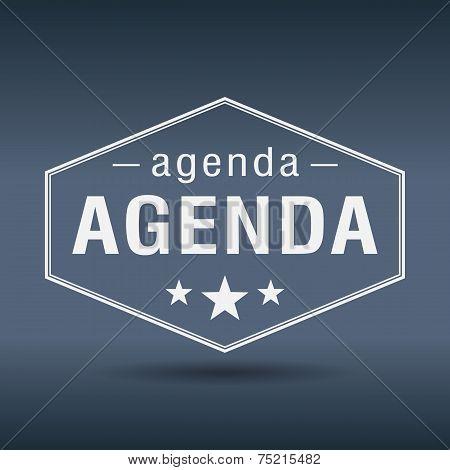 Agenda Hexagonal White Vintage Retro Style Label