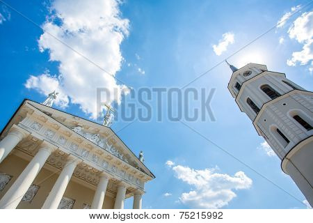 Vilnius Cathedral and its bell tower. Vilnius, Lithuania