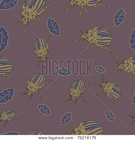 Vector seamless pattern with colorado beetle