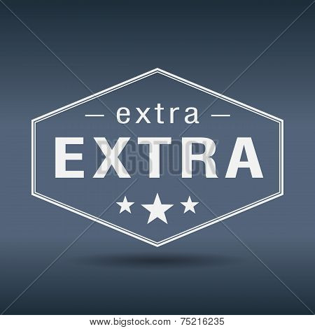 Extra Hexagonal White Vintage Retro Style Label