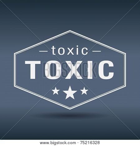 Toxic Hexagonal White Vintage Retro Style Label
