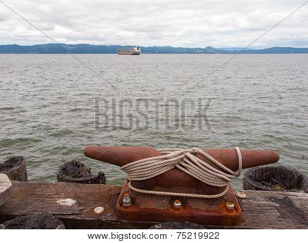 Large Harbor Mooring With Ropes On A Dock