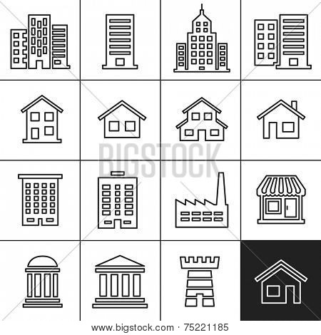 Building Icons Set. Vector illustration. Simplines series vector icons