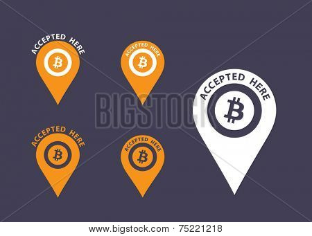 Bitcoins accepted here sign. Virtual currency flat vector icons