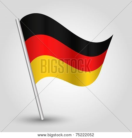 Vector 3D Waving German  Flag On Pole