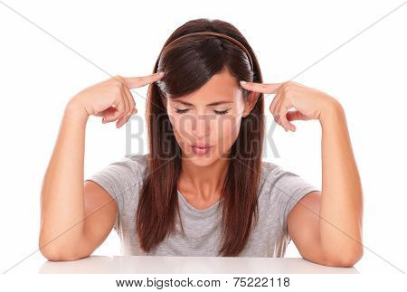 Pensive Woman With Her Fingers On Head