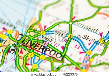 Close-up On Liverpool City On Map, Travel Destination Concept
