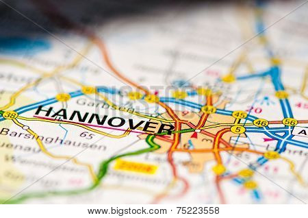 Close-up On Hannover City On Map, Travel Destination Concept