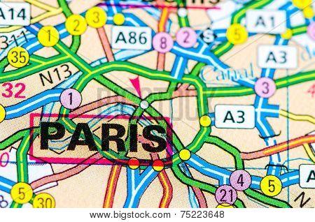 Close-up On Paris City On Map, Travel Destination Concept