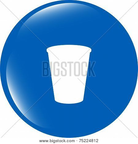 Coffee Cup Icon Web Button Isolated On White Background