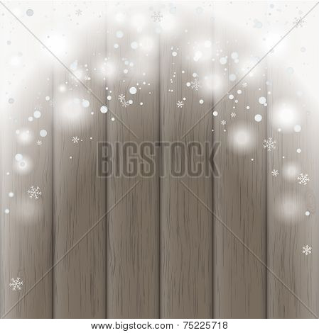Wooden Board With Snow