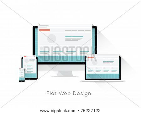 Flat responsive web design vector concept with long shadows
