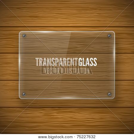 Glass framework and wood texture