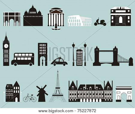 Silhouettes Of Famous Cities
