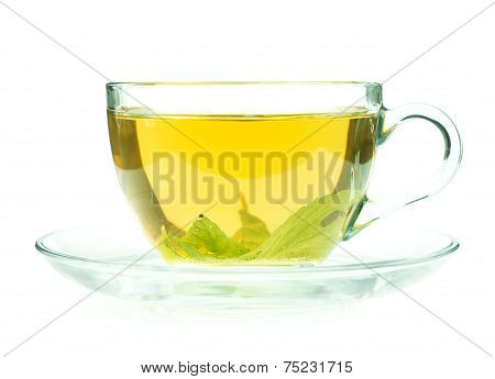 Cup Of Fresh Green Tea Isollated On White