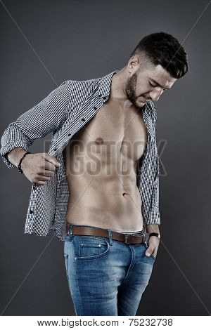 Man With Unbuttoned Shirt