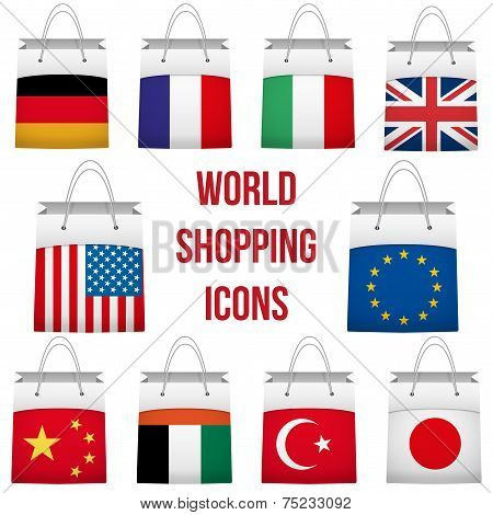 Set Shopping bag with flag of different country. World trading