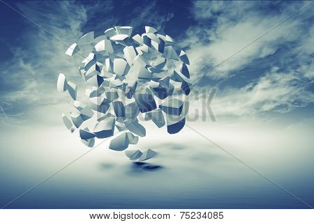 Abstract 3D Object, Cloud Of Small Spherical Fragments