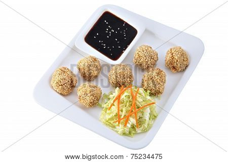 Chinese Dishes, Chicken Balls With Sesame Seeds, Isolated On White.