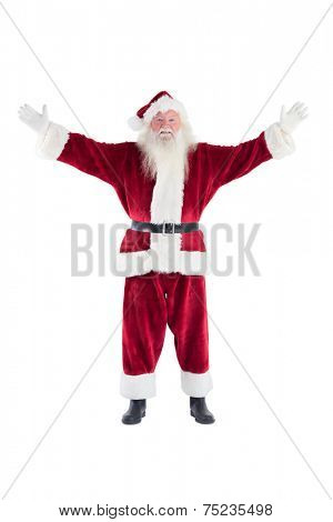 Jolly Santa opens his arms to camera on white background