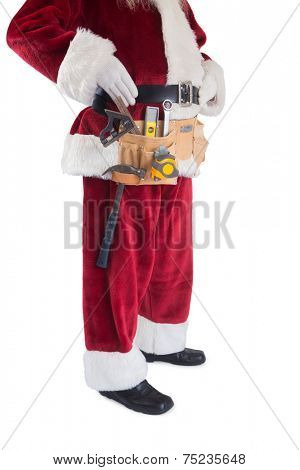 Father Christmas is wearing a tool belt on white background