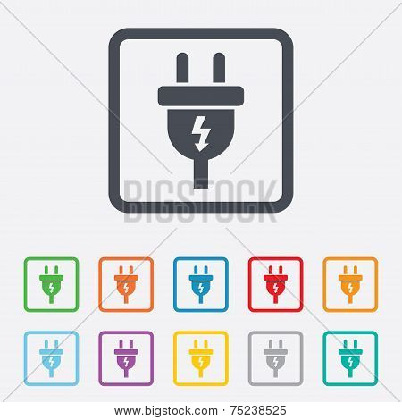 Electric plug sign icon. Power energy symbol.