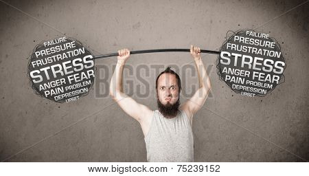 Funny skinny guy defeating stress