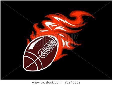 Flaming rugby ball
