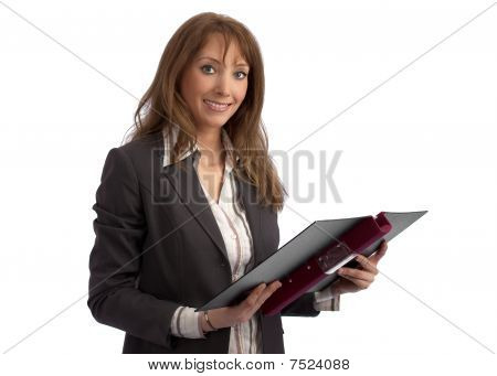 Attractive Teacher/businesswoman With Binder