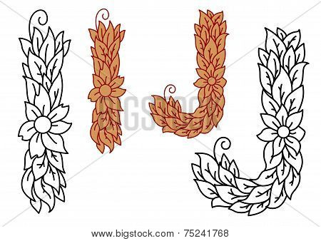 Floral and foliate alphabet letters I and J