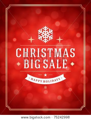 Christmas bokeh light and snowflakes vector background. Merry Christmas big sale message label Greeting card design or invitation and holidays wishes.