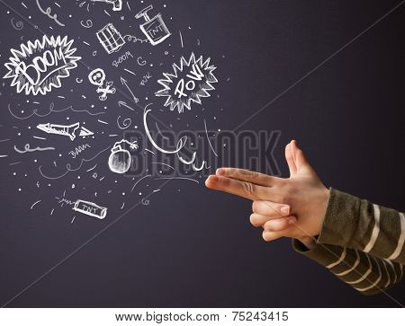 Sketched explosive weapons coming out of gun shaped hands