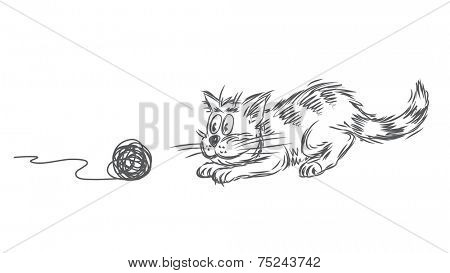 Vector sketch of a cat playing with clew