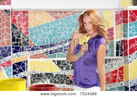 Beautiful Redhead with Mosaic Tiles (3)