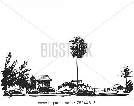 Sketch of houses in little village and palm tree Hand drawn illustration
