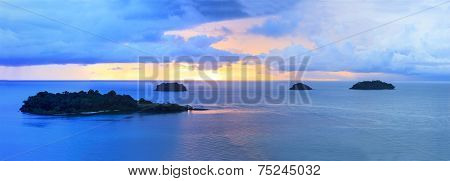 Panorama Of Sun Set Sky At Koh Chang Island Trat Province Important Destination To Visiting Of Easte