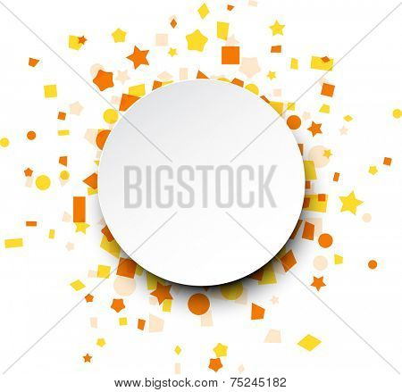 Paper round card on orange celebration confetti. Vector background.