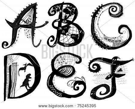 Curly Playful Alphabet - A To F