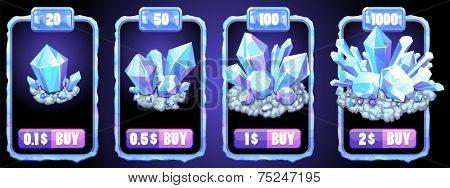 vector set of game store frames with crystals