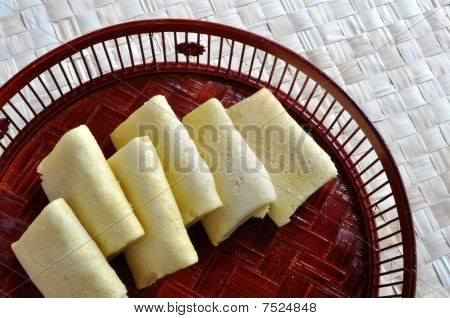Egg rolls in bamboo basin