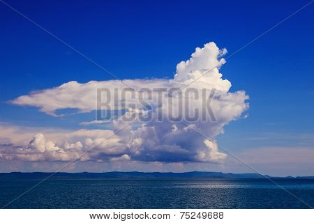 Beautiful Fantasy White Cloud On Blue Sky Use As Natural Background Of Cloudscape Over Blue Sea Leve