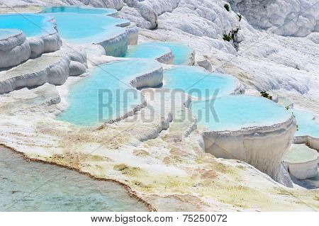Travertine pools and terraces in Pamukkale, Turkey
