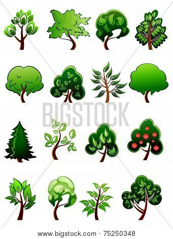 Set of  cartoon green plants and trees