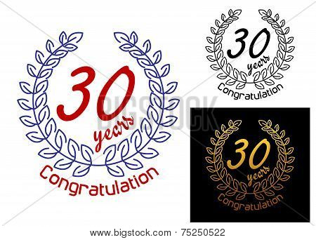 30 Years anniversary congratulations badges